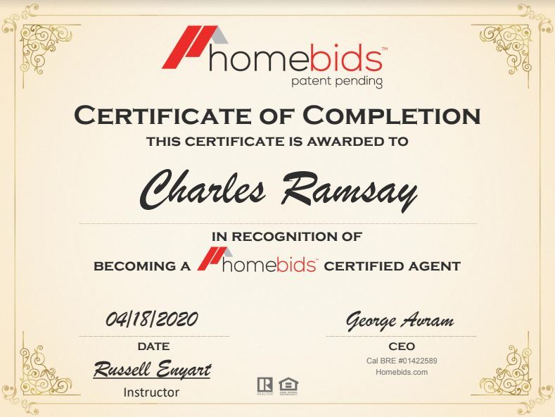 homebids certificate of completion